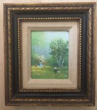 Charles Parthesius Listed Impressionist Enamel On Copper Painting