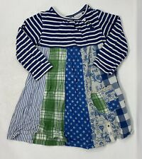Next Blue Girls Flare Summer Dress 2-3yrs Stripe Patchwork Stars Nautical Anchor