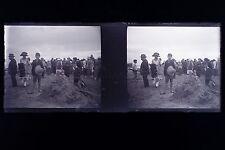 A la Plage Mode chapeau France Plaque de verre stereo NEGATIF 1911