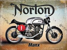 Norton Manx Classic British Motorcycle Old Vintage Garage Small Metal Tin Sign
