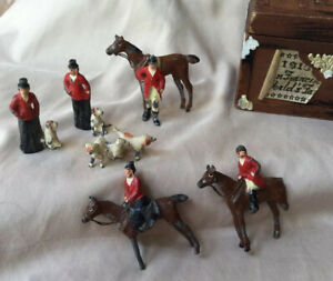 RARE Vintage England Britains FOX HUNTING  6 Pc Lot Horses Jockey & Hounds