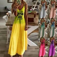 Women's Sexy Slim Letter print Sling Maxi Dress Lady V Neck Ball Gown Dress
