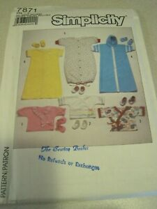 SIMPLICITY 7871 BABIES' KIMONOS & BOOTEES Sewing Pattern '86 All Sizes UNCUT VTG
