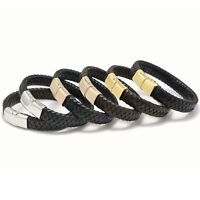 LONDON Black Leather & Stainless Steel Mens Personalised Bracelet Engraved Gift
