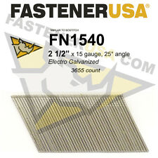 "FN1540 15 gauge Angled Finish Nails 2 1/2"" (FN1500 series) 25 degrees 3655ct"