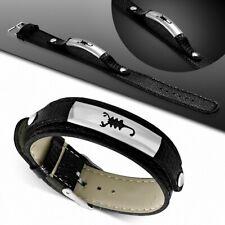 Bracelet homme similicuir noir plaque scorpion