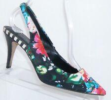 ALDO floral print canvas elastic slingback pointed toe heels 7 EU 37.5 6266