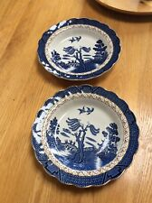 "Vintage Beautiful Booths Real Old Willow Gilded A8025 10"" soup bowls X 2 - Good"