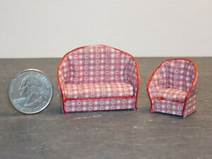 Dollhouse Miniature Sofa & Chair Red Heart 1:48 Quarter Scale Y38 Dollys Gallery