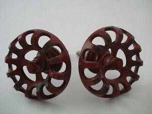 2 Water Spigot Drawer Pull / Cabinet Knobs, Handles. Red Metal