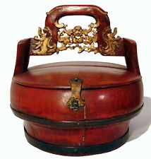 Antique Chinese Carved Red Lacquer Wedding Basket Dragons Bats Gilded Box
