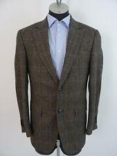 Windsor Herren Tweed 2-Knopf Sakko Jacke 48 Glencheck Braun-Schwarz Lambswool