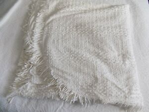 VINTAGE ST MICHAEL M & S WHITE CANDLEWICK DOUBLE BEDSPREAD~FRINGED~VGC