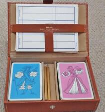 Vintage 1960s Cased Tanned Leather Double Pack of Playing Cards Bridge Set