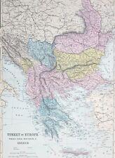 1887 ANTIQUE MAP TURKEY IN EUROPE ROMANIA SERVIA MONTENEGRO GREECE WALLACHIA