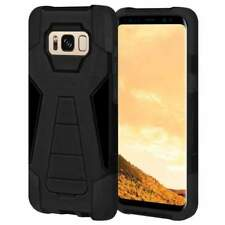 AMZER Dual Layer Black Hybrid KickStand Case Cover for Samsung Galaxy S8