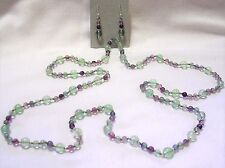 "31"" HAND KNOTTED MULTI COLOR FLUORITE GEMSTONE BEADED NECKLACE & EARRING SET"