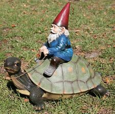 New Gnome Riding Turtle Garden Statue Sculpture Figurine Pond Decor 16""