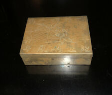 """Beautifully Engraved Antique Chinese Solid Brass Wood Lined Box 4"""" X 3"""" X 1"""""""