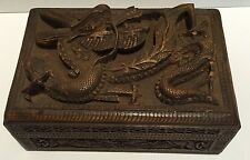 Rare 1800's Antique Chinese Wood Trinket Box 3D Relief Deeply Hand Carved Dragon
