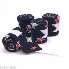 PATRIOTIC STAR PRINT - RED, WHITE & BLUE - FLEECE POLO LEG WRAPS – HORSE SIZE