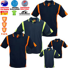 2 3 5 PACK HI VIS POLO SHIRT ARM PANEL PIPING WORK WEAR COOL DRY SHORT SLEEVE