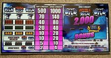 "19x9"" Wms Gaming Double Wild Casino Slot Machine Sign Glass Front Cover Panel"
