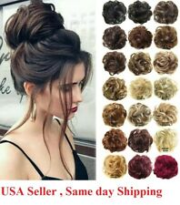 Fast shipping Soft Curly Messy Bun Hair Piece Scrunchie  Hair Extensions US