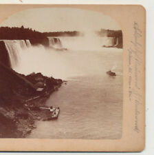 Maid of the Mist & Landing from Suspension bridge Niagara Falls NY Stereoview