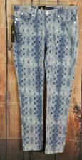 Rock and Republic Berlin Skinny Jeans Womens Size 8 M White Blue Snake Print NEW