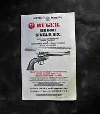 Ruger Single-Six Revolver Instruction Manual, 1990's.
