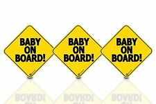 """Zone Tech 3 Baby on Board 5x5"""" Warning Car Bumper Decal Reflective Magnet Signs"""