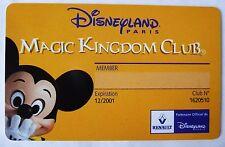 ANCIENNE CARTE MAGIC KINGDOM CLUB DISNEYLAND PARIS / RENAULT
