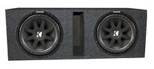 "Kicker 12"" Comp 43C124 600 Watt Subwoofers (2) + Vented Dual Sub Box Enclosure"