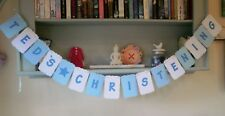 Personalised Christening Bunting Decoration Party Banner Blue and White