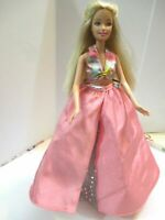 BARBIE DOLL BLONDE HAIR PINK SKIRT SILVER UNDER SKIRT AND HALTER NECK TOP