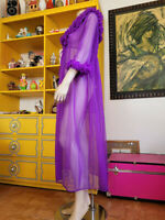 Vtg 60s Lilac Purple SHEER Ruffled Nylon Chiffon Boudoir Pinup Cheesecake Robe L