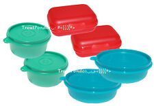 Tupperware Small Bowls and Storage Containers Lot of 6 Blue Red Teal Set New