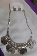Necklace & Earrings Set Fashion Tiebetan Silver Coins Chunky