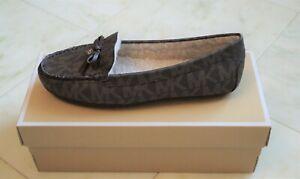 MICHAEL KORS Women's Brown MK Monogram EVERETT Shearling MOC Loafer Size 8.5M