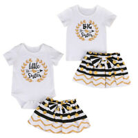Infant Toddler Baby Kids Girls Romper/T-shirt Skirt Sister Matching Clothes Set