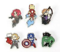 "Avengers Marvel 6 Enamel Pin Badge Brooch Lot 1"" Iron Man Hulk US Seller"