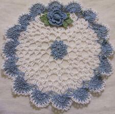 delf blue rose crocheted doily  by Aeshagirl