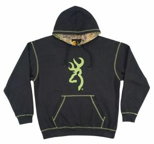 New Browning Men's Buckmark Realtree Xtra Camo Lined Black Hoodie-Multiple Sizes