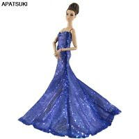Royalblue Sequin Party Dress For Barbie Doll Cloth Princess Gown Dress Dollhouse