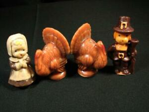 """Vintage Lot 4 Thanksgiving 2 Turkey 2 Pilgrims Brown Gurley Candles 3"""" Tall"""