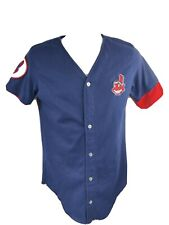 Vtg Swingster Mens M Cleveland Indians Baseball Button Shirt Embroidered Chief