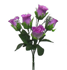 5 Roses Buds ~ MANY COLORS ~ Silk Wedding Flowers Bride Bouquets Centerpieces