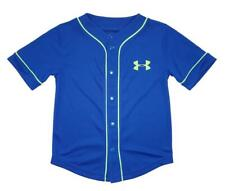 Under Armour Boys Blue & Neon Lime S/S Baseball Jersey Size 5
