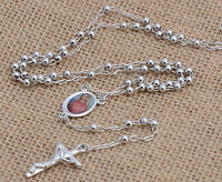 FIN003-Womens Mens Silver Filled Beads Link Chain Necklace Cross Pendant Fashion
